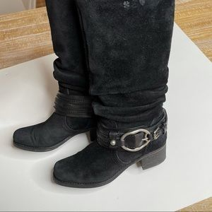 LUCKY BRAND BLACK SUEDE HARNESS MOTO BUCKLE BOOTS
